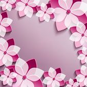 picture of sakura  - Floral festive frame with pink 3d flowers sakura - JPG