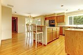 picture of stool  - Bright kitchen room with windows - JPG