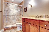 image of toilet  - Brown tones bathroom with glass door shower toilet and wooden cabinets - JPG