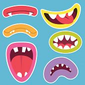 pic of monsters  - Cute Monsters Mouths Set - JPG