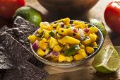 picture of mango  - Fresh Homemade Mango Salsa with Corn Chips - JPG
