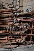 rusty grungy metal reinforcement and scrap-metal store