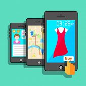 illustration of mobile application concept in flat style