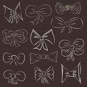 illustration of a set of hand drawn bows. Rasterized Copy