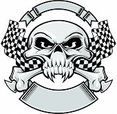 foto of skull crossbones flag  - skull with racing flags and ribbon on top and bottom - JPG
