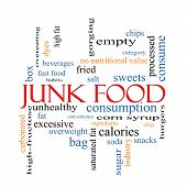 stock photo of high calorie foods  - Junk Food Word Cloud Concept with great terms such as chip snacks calories and more - JPG