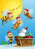 foto of sleigh ride  - Illustration of the bees watching the snowman riding on a sleigh - JPG
