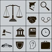 foto of jury  - Law Justice Police Icons and Symbols Silhouette on Gray Background Vector Illustration - JPG
