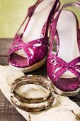 foto of mother-of-pearl  - woman shoes and mother of pearl bracelet - JPG