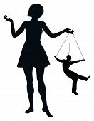 image of humiliation  - Woman treating man like marionette - JPG