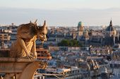 stock photo of gargoyles  - A picture from famous gargoyle of Notre Dame looking over Paris - JPG