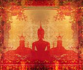 picture of buddha  - Silhouette of a Buddha Asian landscape in grunge texture  - JPG