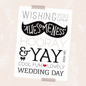 foto of geek  - Fun mustache geek illustration happy wedding day card hipster cover typography design background template in vector - JPG