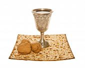 stock photo of passover  - Passover arrangement with Matzoth - JPG