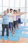 image of senior class  - Portrait of fitness class stretching hands in row at yoga class - JPG