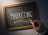 Hand writing the word marketing on black chalkboard