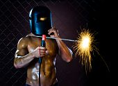 foto of welding  - the beauty muscular worker welder man weld electric arc - JPG