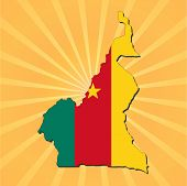 Cameroon map flag on sunburst vector illustration