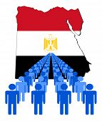 Lines of people with Egypt map flag vector illustration