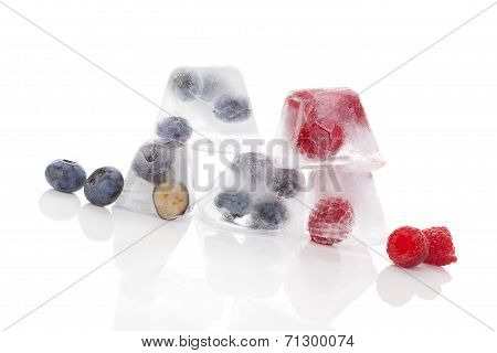 Fruits Frozen In Ice.