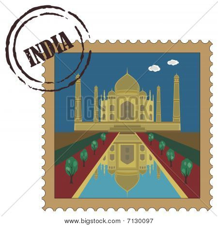 Old postal stamp with Taj Mahal, famous landmark of India