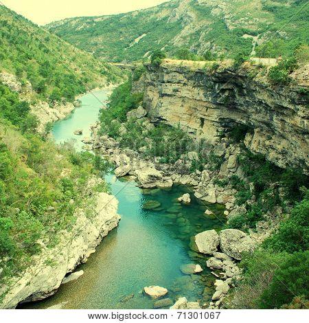 Tara River Canyon In Montenegro Mountains
