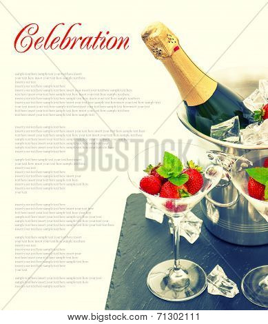 Bottle Of Champagne, Two Glasses And Fresh Strawberries