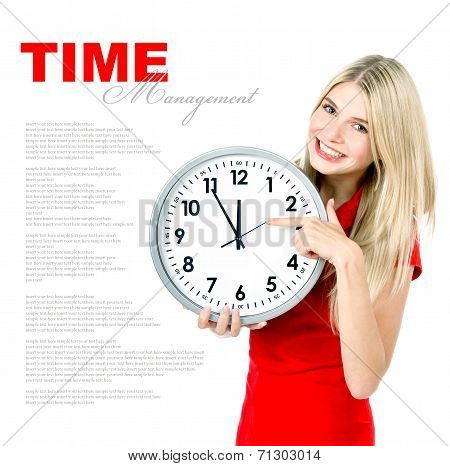 Time Management Concept. Young Beautiful Woman With Big Clock