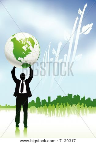 Businessman Holding Globe Nature Internet Background With New Yo