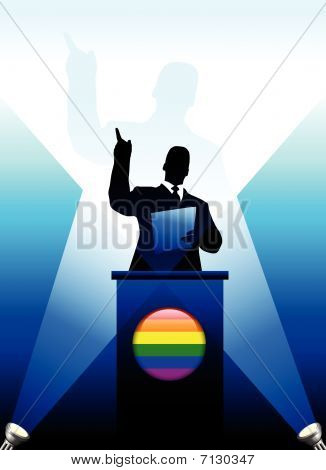 Gay Leader Giving Speech On Stage