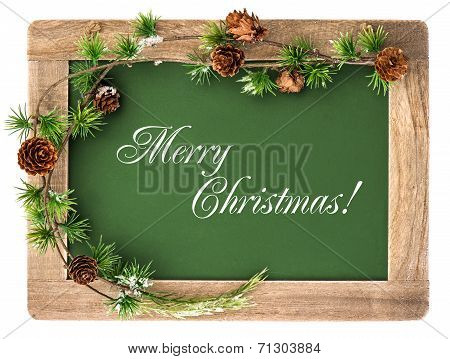 Blackboard With Wooden Frame And Christmas Decoration