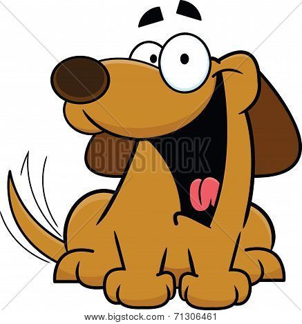 Happy Cartoon Dog Wagging Tail