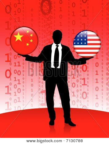 Businessman Holding China And United States Internet Flag Button