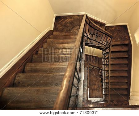 beautiful staircase in old building