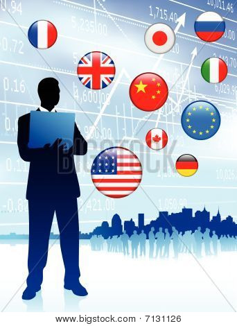 Finance Businessman With Internet Flag Buttons