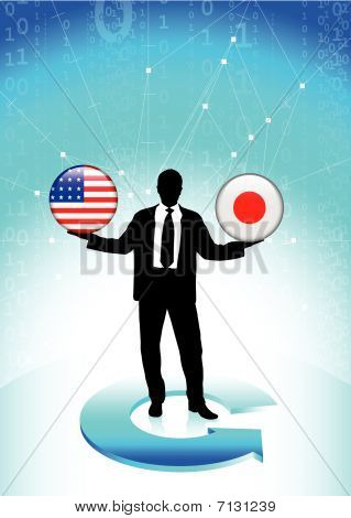 Businessman Holding United States And Japan Internet Flag Button