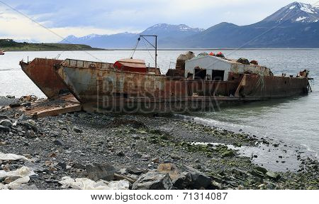 Rusting ship on Shore