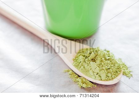 Powdered Green Tea With Wooden Spoon