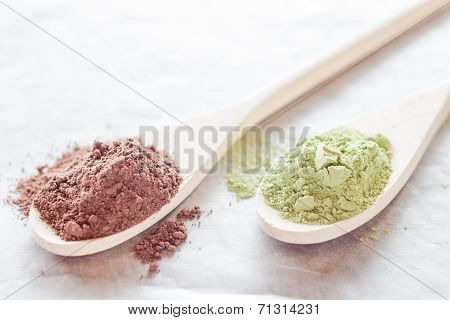 Cocoa And Green Tea Powder Heap