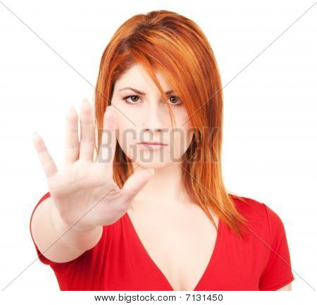 Woman Showing Stop Sign