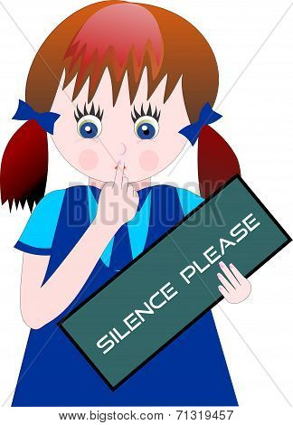 School Girl with Silence Please Notice