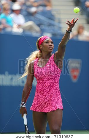 Grand Slam champion Serena Williams during fourth round match at US Open 2014