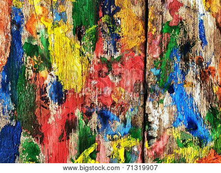 background flecked with colored inks wooden boards