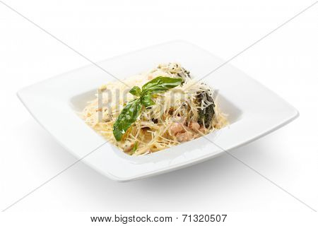 Spaghetti with Meat and Basil Leaf