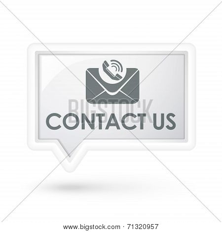 Contact Us With Mail Icon On A Speech Bubble