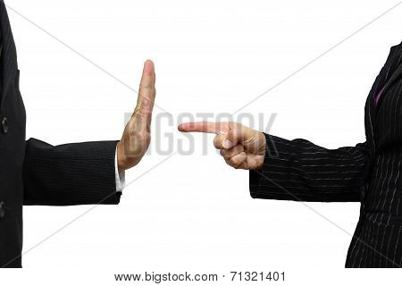 Business Woman Pointing To Coworker. He Refuses Task