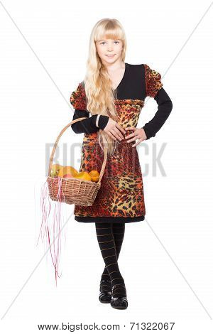 Little Blond Girl With Basket