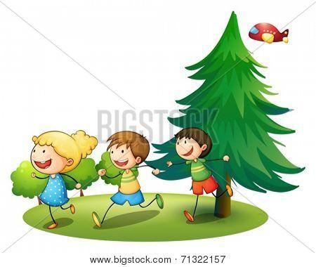 Illustration of children running outside