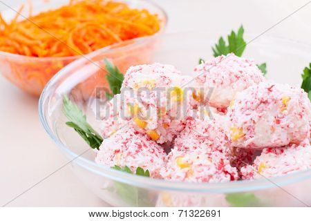 Two Salad In Glass Plate On The Table