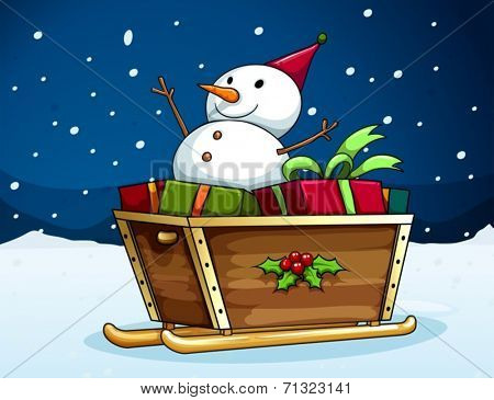 Illustration of a snowman on a sledge